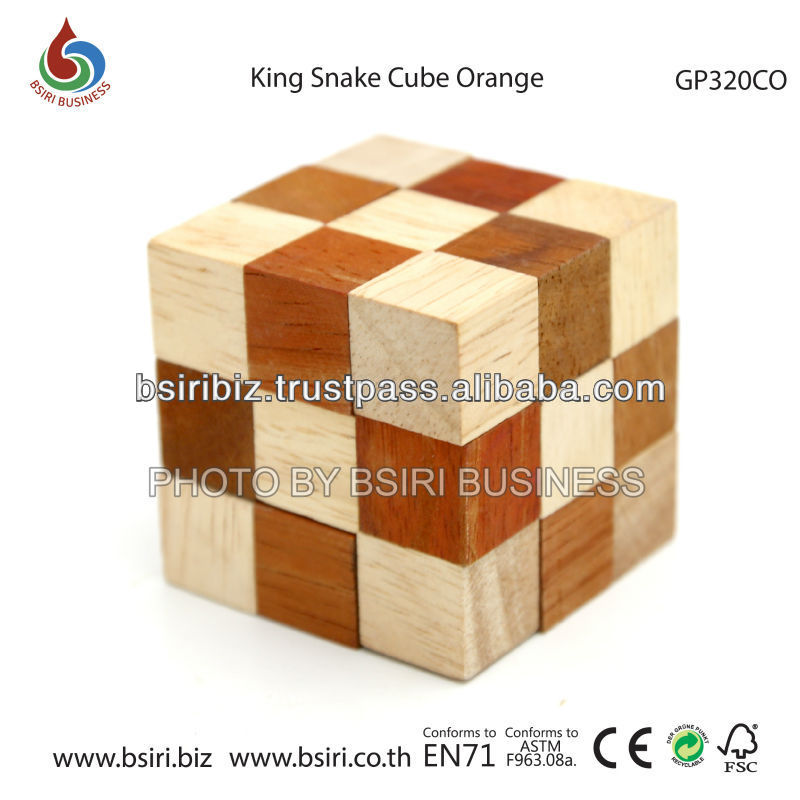 wooden cube puzzle King Snake Cube Orange