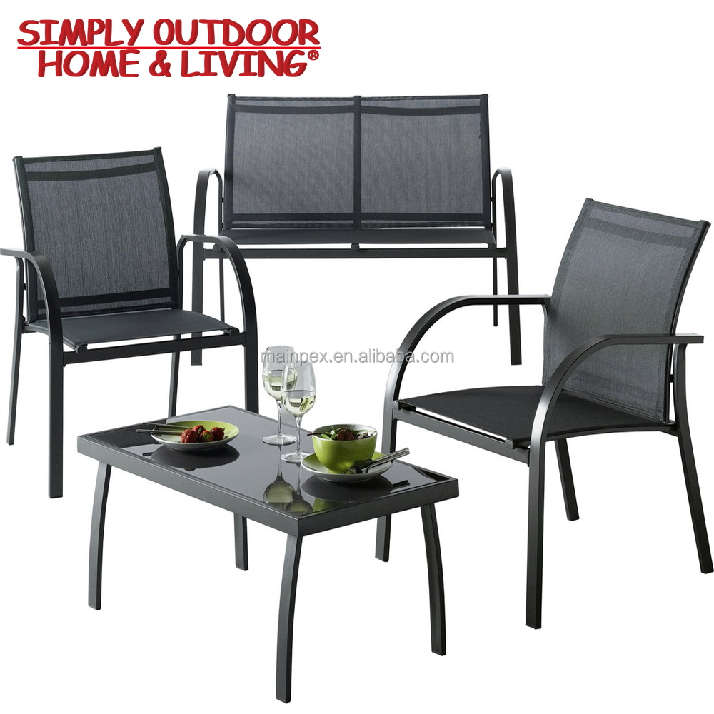 Modern Outdoor Furniture 4 Seater Metal Sofa Set(Stainless Steel Dining Table And Chair Sets)