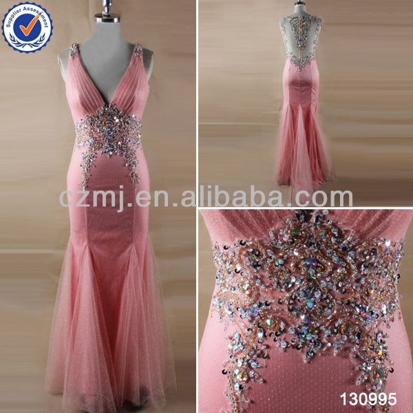2016 newest crystal sequin beaded back sheer peach mermaid halter handmade prom dresses