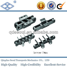 C2060 light duty free folw double pitch conveyor roller chain with pads