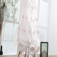 Top Elegant bedroom, dinning room use pink floral embroidered lace curtain drapery panel