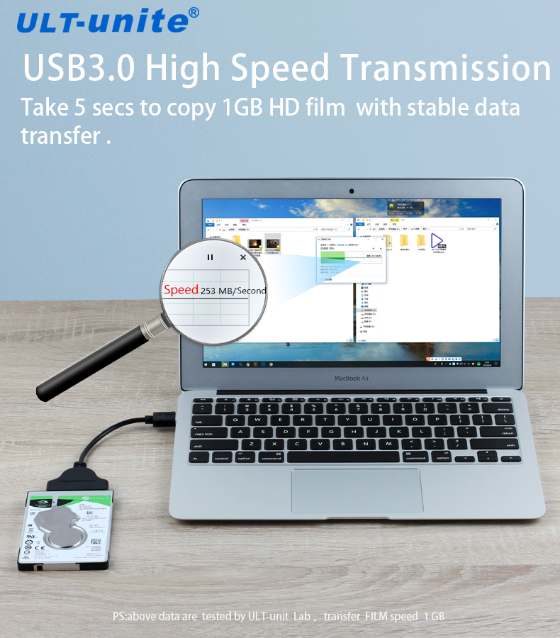 USB 3.0 to Sata 7 + 15pin 22pin Adapter Cable for 2.5 inch HDD SSD