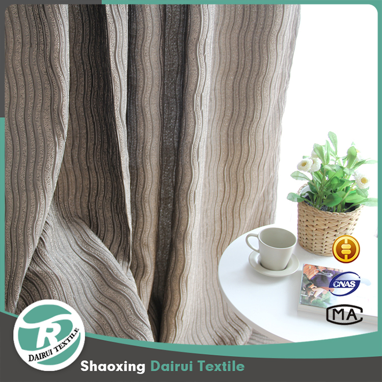Popular best price brown stripe crumple blackout curtain for hotel