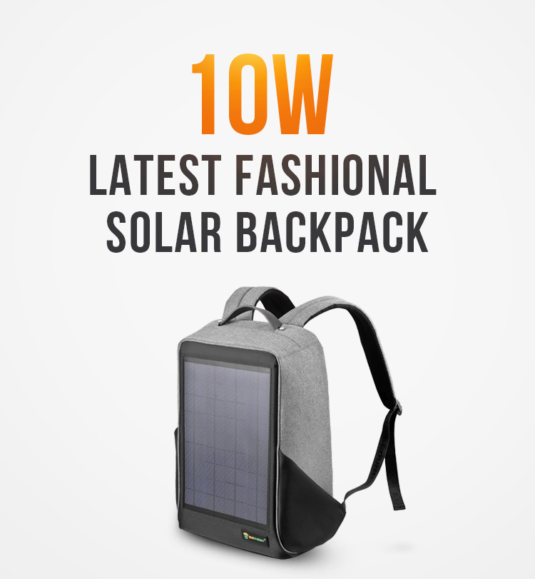 2019 solar  backpack  soft waterproof laptop backpack carry solar panel bag with usb charging
