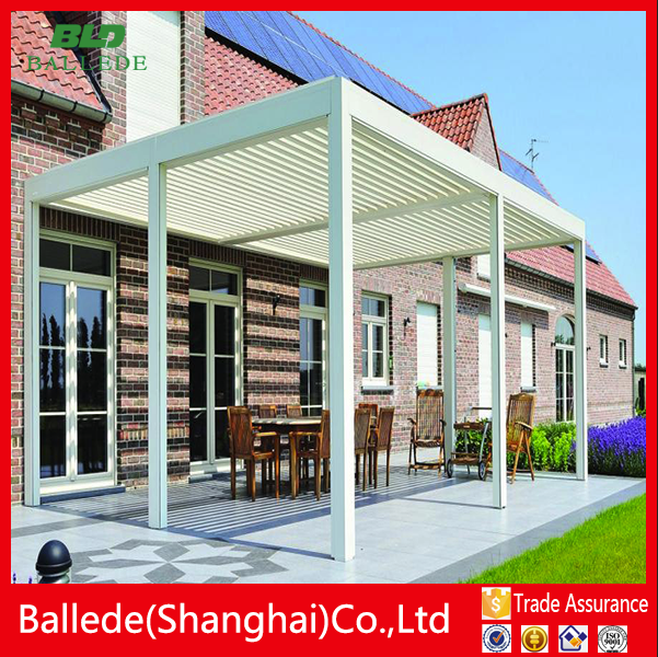 Outdoor waterproof aluminum louvered pergola lean to the wall