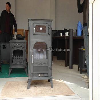 cast iron wood burning solid fuel stove with oven