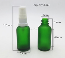 Cosmetic packaging 30ml green glass mist spray bottle for cosmetic oil