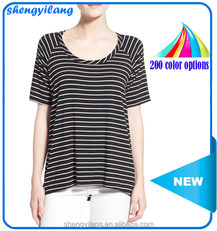 Ladies stripe low neck front short back long cotton t-shirt clothing wholesale distributors