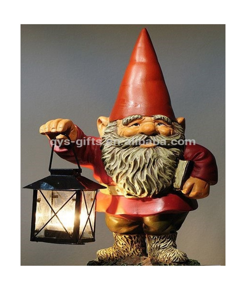 Polyresin garden gnome with lantern light figures