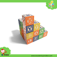 Wooden Customized Hot Stamping Arabic English Alphabet Animal Educational Blocks Foreign Kids Games New Toys for Kid 2016