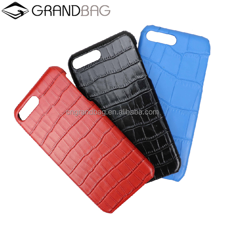 fashion handmade all cover crocodile stone embossing leather mobile cover phone case for iphone 6 / 7 plus