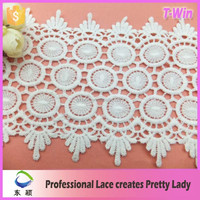 12.5cm Swiss hot sales eyelet water soluble lace trim for curtain/chemical raw material circle embroidery lace trim