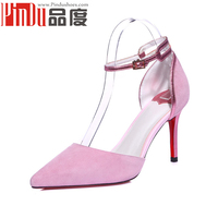 2016 innovative product suede pink beautiful girls shoes ankle strap heels