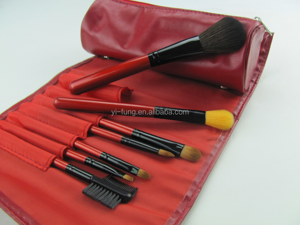 7 Pcs Red PU Bag With Button Make up Tools Professional Make up Best Synthetic Hair Shipping Make UP