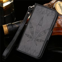 Maple leaf embossed Leather Wallet Case for iPhone 7 8 Plus