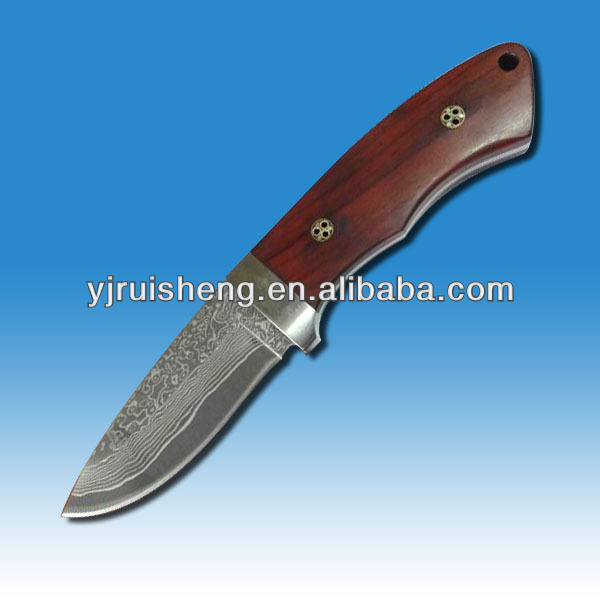 High Quality Damascus knife blade blank with color wood handle