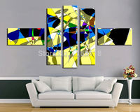 5 piece modern decor art set abstract dancing chromatic ribbon hand painted Palette Oil Painting on Canvas