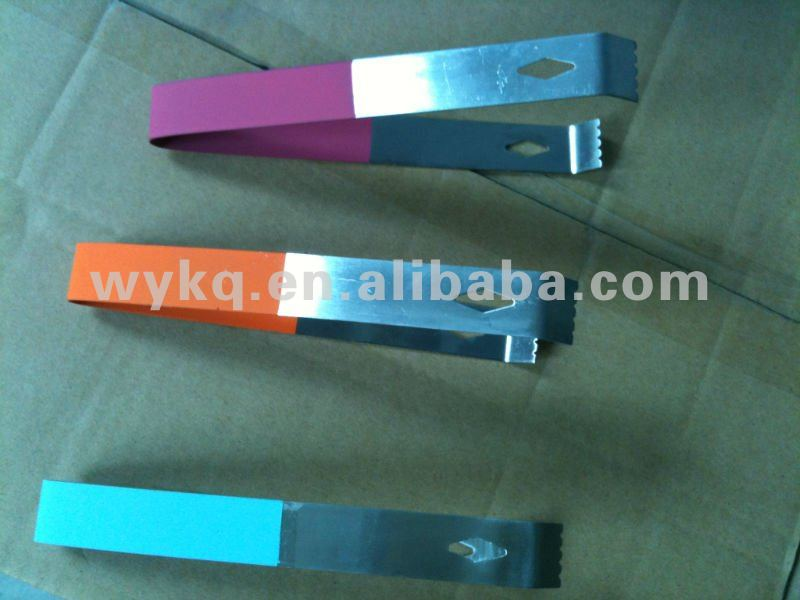 stainless steel bar ice tongs/tool with rubber colorful painting