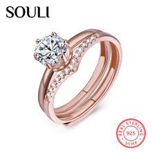 Fashion Diamond Ring, Adjustable S925 Sterling Silver Rose Gold Plated Ring Sets