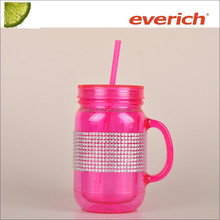 Eco-friendly Heat-resistant Plastic Mason Jar Tumbler with Straw and Handle