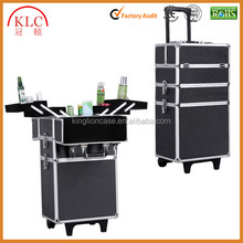 Custom-made Alumi 4-in-1 Rolling Makeup Train Case Cosmetic Trolley Box with Lift Handle and Lock 2-wheel