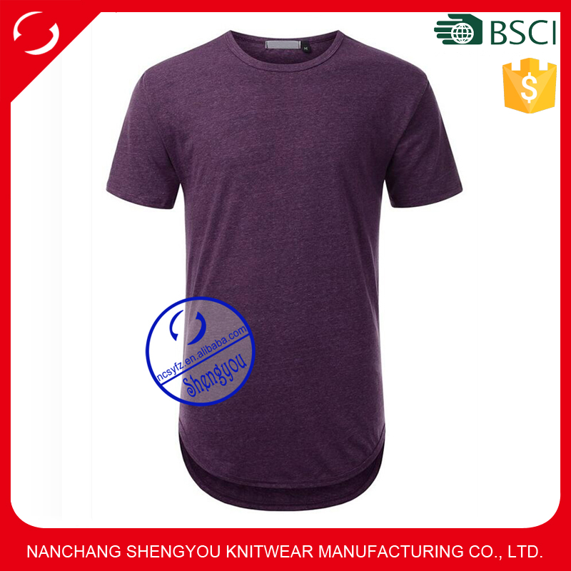 Mens Extra Long Crewneck T Shirts With Rounded Hemline