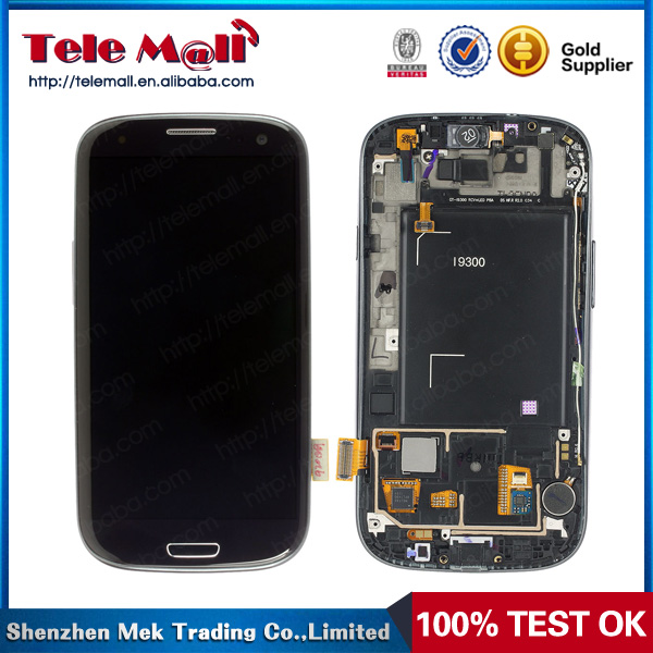 100% Tested Glass LCD Display +Touch Screen Digitizer Frame Assembly Replacement For Samsung Galaxy s3 i9300