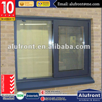 Upvc sliding window double glass wooden color Plastic frame window