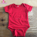 Baby clothes wholesale price cotton red lap shoulder carter's clothes baby rompers plain