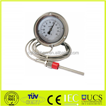 gas expansion thermometer stainless steel capillary thermometer