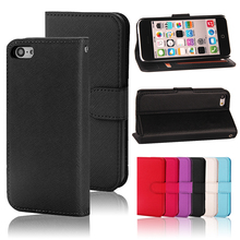 Top Quality The Cross Lines 2 in 1 PU Leather Flip Phone Case with Stand Function for iPhone 5C