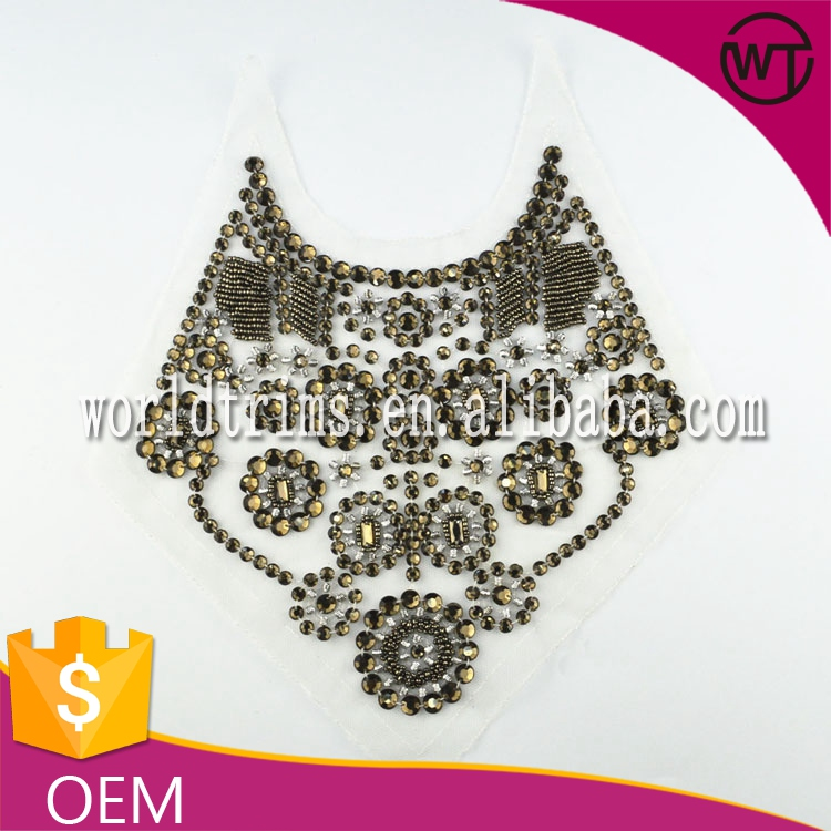 Wholeslae pearl beaded neckline appliques, acrylic stone neck applique patch for dress