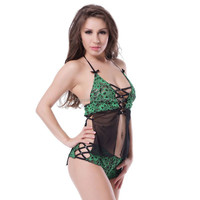 Wholesale lace-up detail green lace cami set sexy lingerie hot