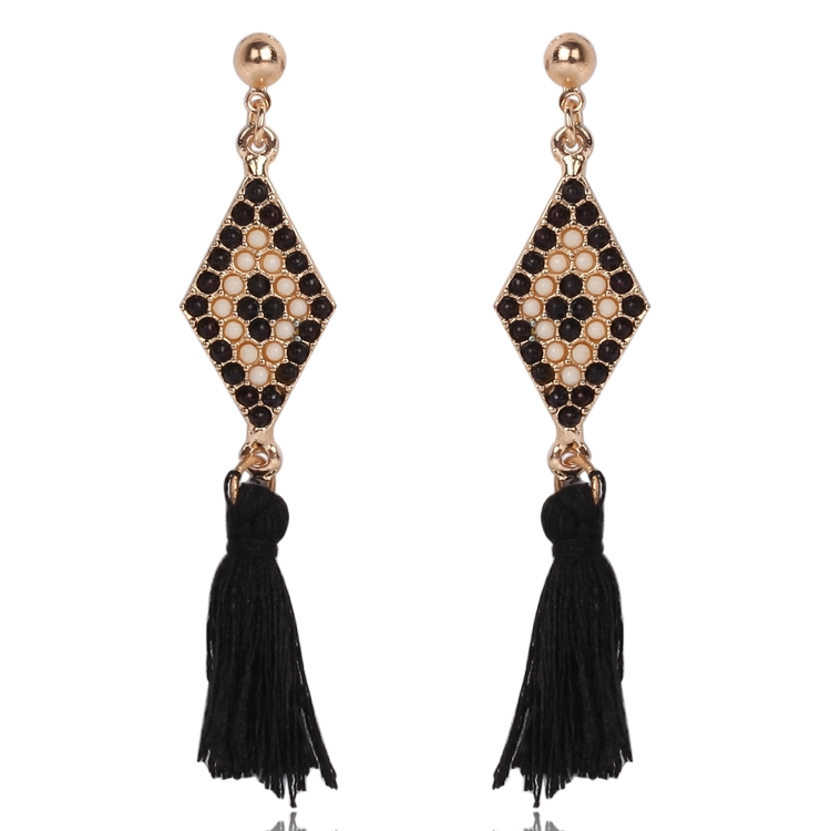 Free shipping Bohemia style bead jewelry summer new high quality gold plated weaving long drop black tassel <strong>earrings</strong> for women