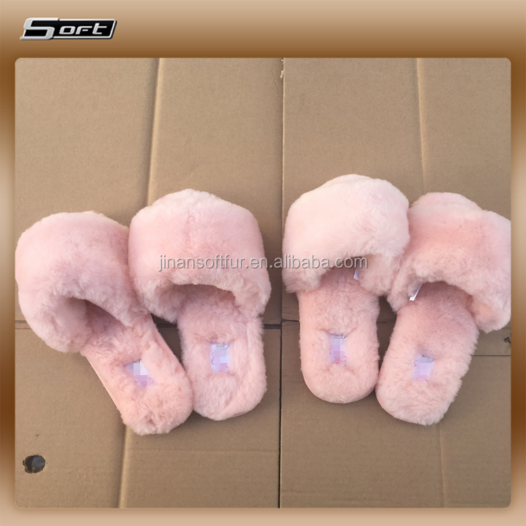Very thick lambswool sheepskin rubber slipper sole