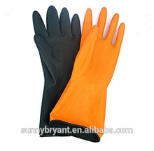 Chemical Resistant Heavy Duty Rubber Work Gloves EN 374 Anti-skid Palm Black Latex