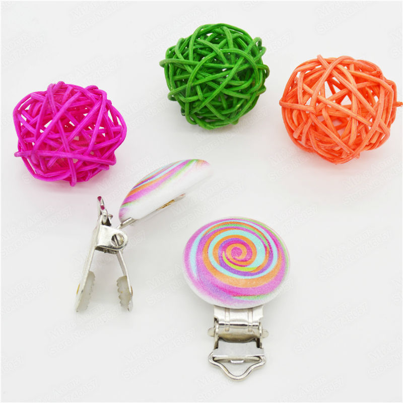 "5PCs Baby Pacifier Clips Rainbow Pattern White Wood Metal Holders 4.4cm x 2.9cm(1 6/8"" x1 1/8"")"