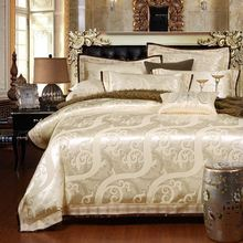 4/6-Pieces Jacquard Luury Bedding Set Queen King Size Bed Set Imitated Silk Cotton Lace Duvet Cover Bed Sheet Bed Linen