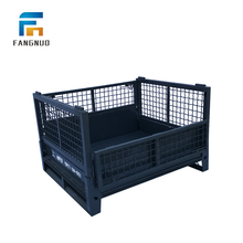 Dependable performance folding wire mesh metal pallet cage