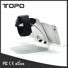 Hottest Solid Portable Universal Aluminum Desktop Charger Travel Mobile Phone Tablet Holder 2 in 1 Watch Stand For Apple