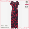 Chinese style pattern print dress maxi with frill for partywear
