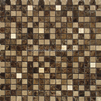 SKY-M007 Luxurious Golden Brown Marble Stone Wall Mosaic Tile