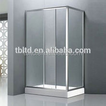 shower room with brushed nickel finish frame