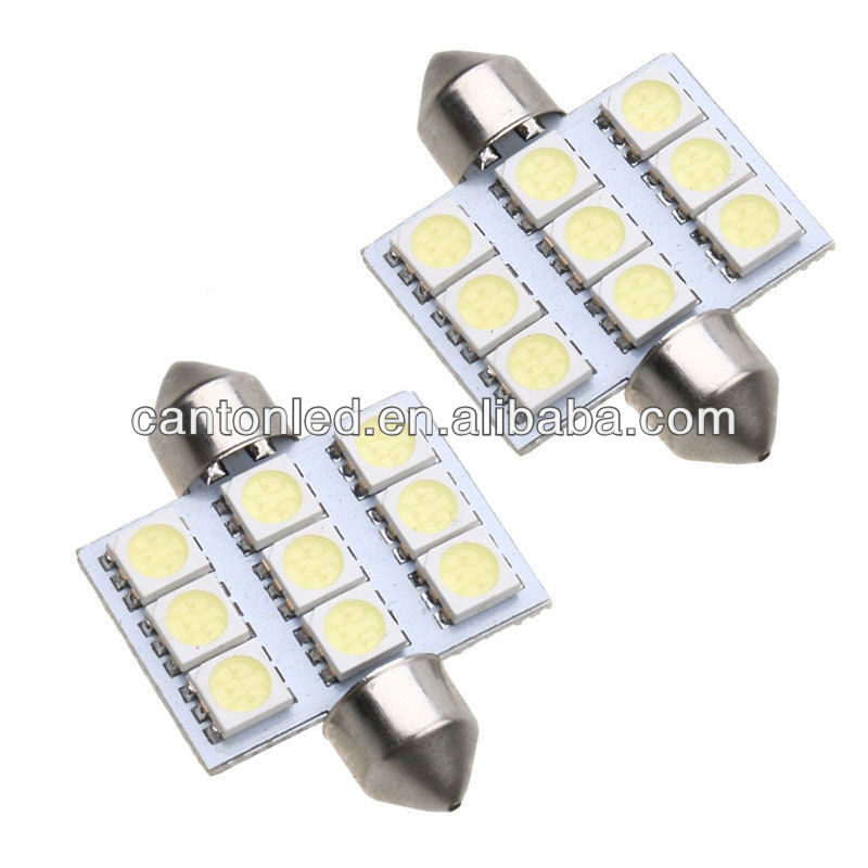 36mm 9 SMD 5050 LED Festoon Dome Car Auto Interior Bulb Light Lamp White