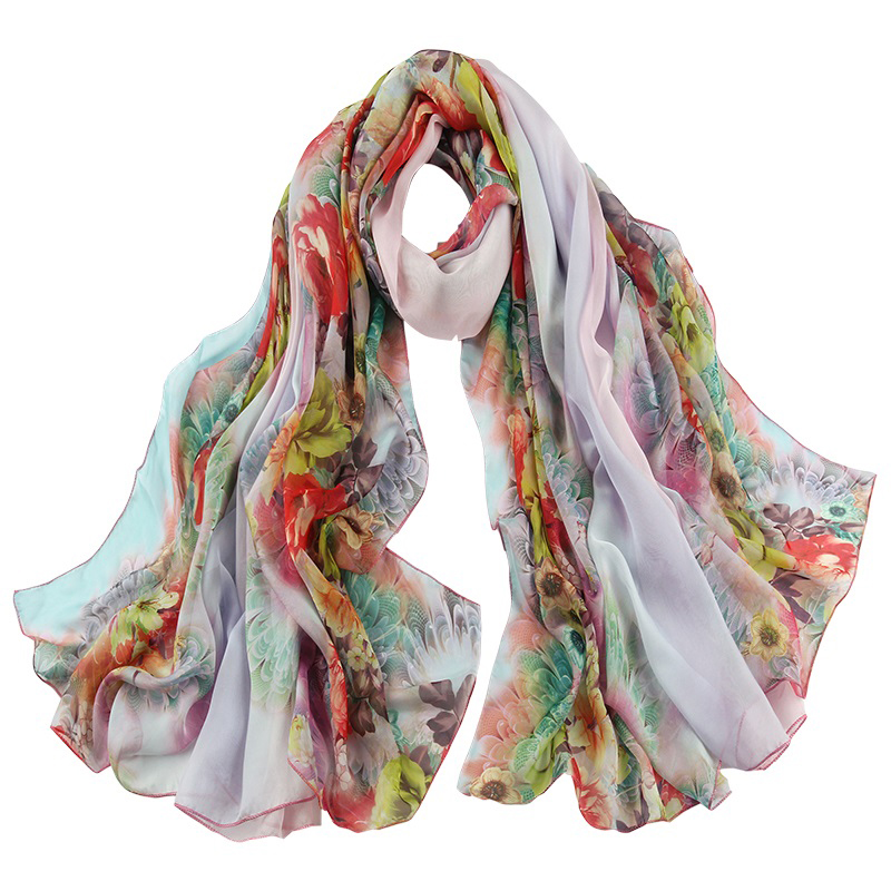 100% Flower print polyester scarf with custom design