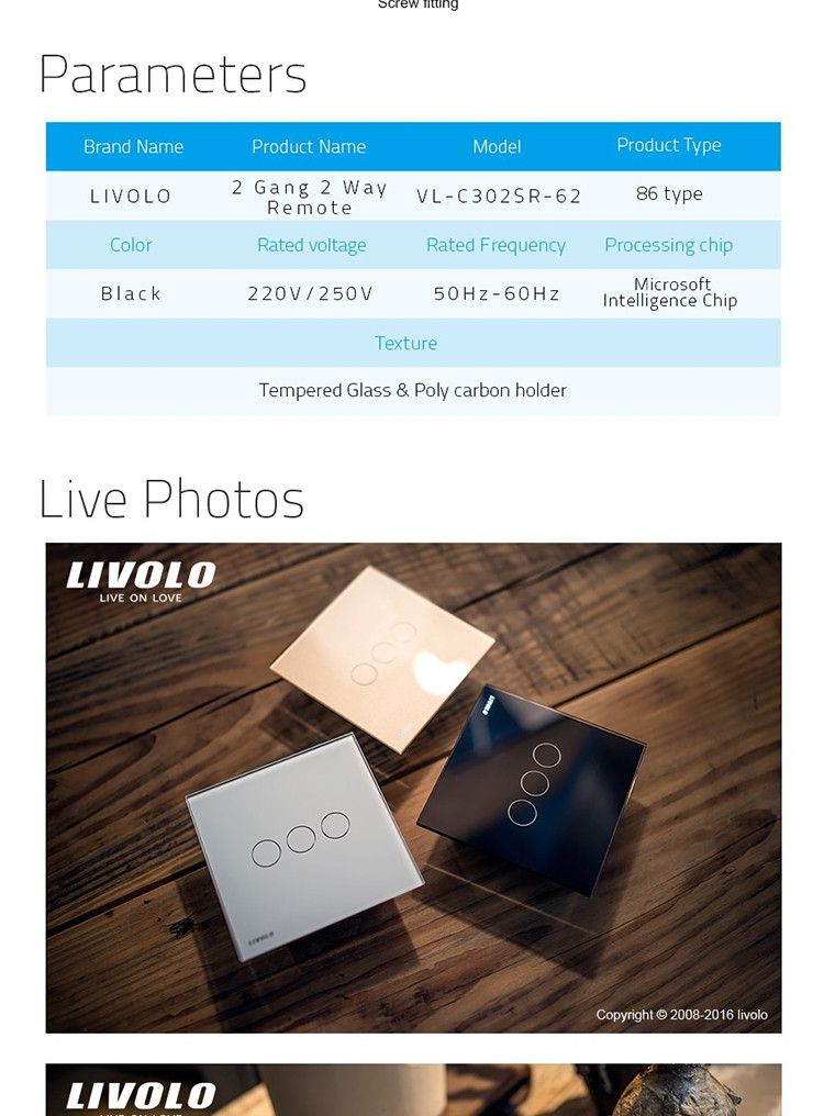 Livolo Intelligent Black Classical Office style Intermediate & Remote Switch Wireless 2 gang 2 way Plate Switch VL-C302SR-62