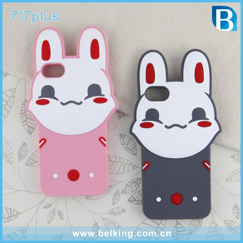 2017 Hot! 3d Cartoon rabbit silicon phone case cover for apple iphone 7 fashion soft back case for iphone 7 plus