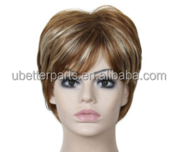 "6"" Female's Fiber Wig Short Straight Blonde Wig African American Realistic Synthetic Hair Wig For Women Heat Resistant"