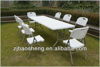 2.4M long plastic dining tables half folding tables white color folding furniture