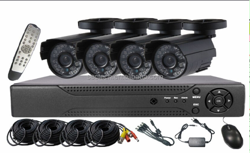 Competitive price 4CH HD AHD IR CCTV kits IP66 waterproof bullet 960P HD DVR kits